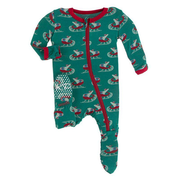 Kickee Pants Footie with Zipper Ivy Sled - Flying Ryno
