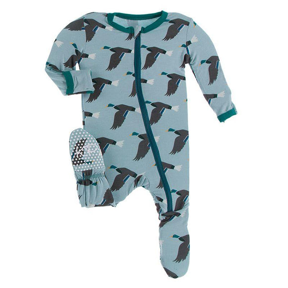 Kickee Pants Footie with Zipper Jade Mallard Duck - Flying Ryno