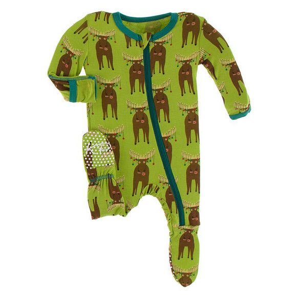 Kickee Pants Footie with Zipper Meadow Bad Moose - Flying Ryno