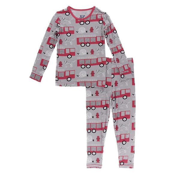Kickee Pants Long Sleeve Pajama Set Feather Firefighter - Flying Ryno