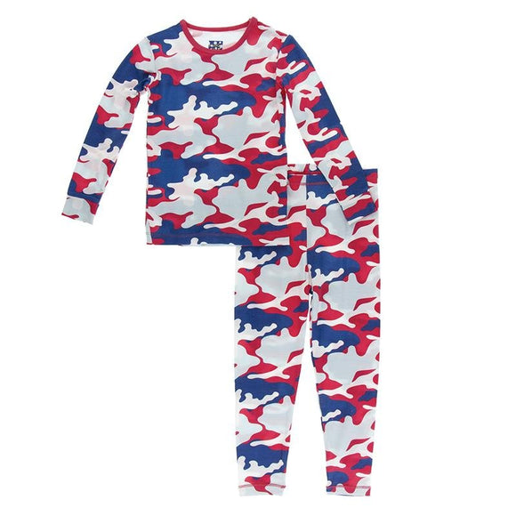 Kickee Pants Long Sleeve Pajama Set Flag Red Military - Flying Ryno