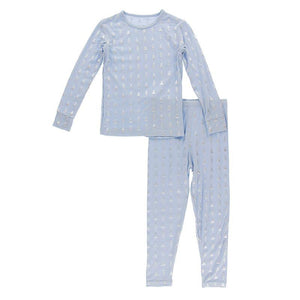 Kickee Pants Long Sleeve Pajama Set Frost Silver Trees - Flying Ryno