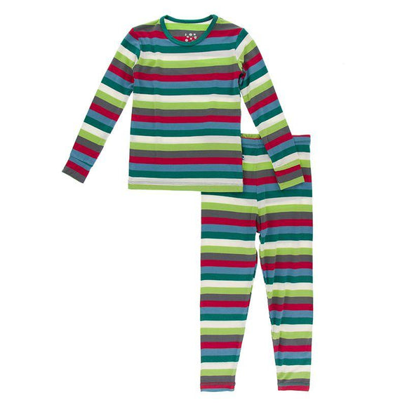 Kickee Pants Long Sleeve Pajama Set Multi Stripe - Flying Ryno