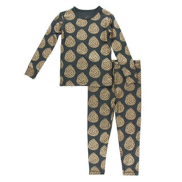 Kickee Pants Long Sleeve Pajama Set Pewter Pinecones - Flying Ryno