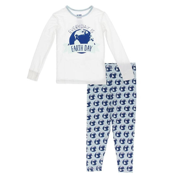 Kickee Pants Long Sleeve Pajama Set Spring Sky Environmental Protection - Flying Ryno