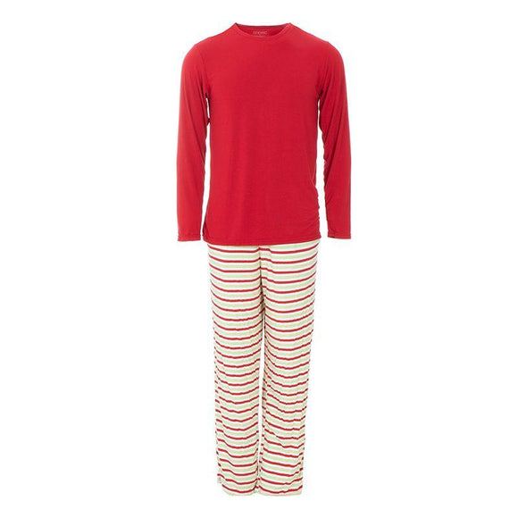 Kickee Pants Men's Long Sleeve Pajama Set Candy Cane Stripe - Flying Ryno