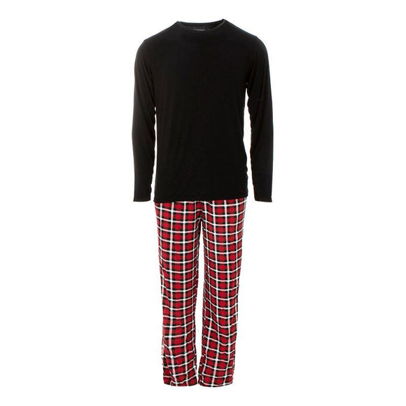Kickee Pants Men's Long Sleeve Pajama Set Crimson Holiday Plaid - Flying Ryno