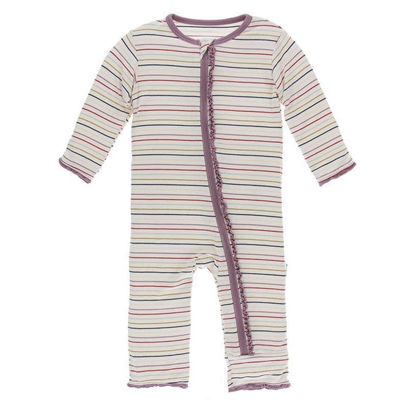 Kickee Pants Muffin Ruffle Coverall with Zipper Everyday Heroes Multi Stripe - Flying Ryno