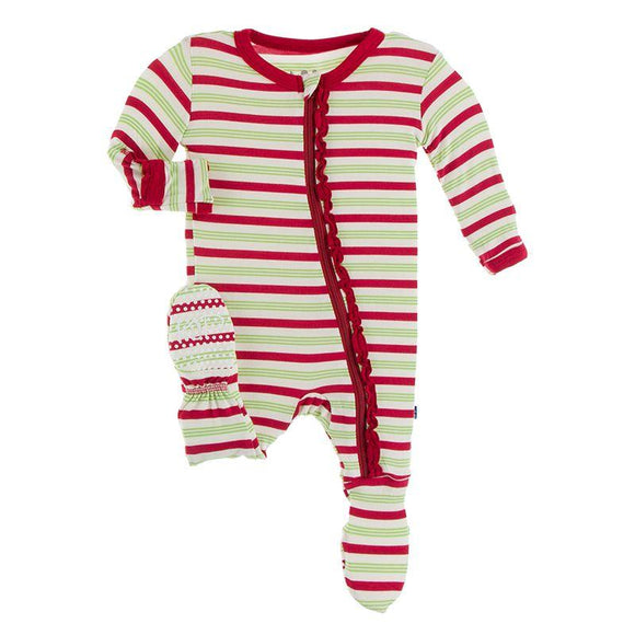 Kickee Pants Muffin Ruffle Footie with Zipper Candy Cane Stripe - Flying Ryno
