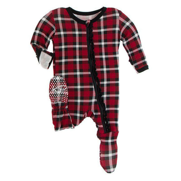 Kickee Pants Muffin Ruffle Footie with Zipper Crimson Holiday Plaid - Flying Ryno