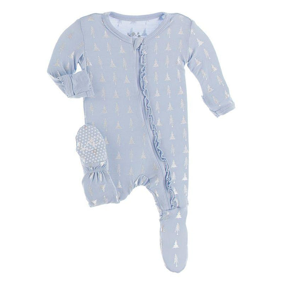 Kickee Pants Muffin Ruffle Footie with Zipper Frost Silver Trees - Flying Ryno