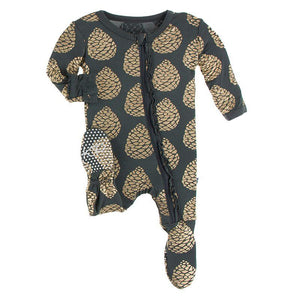 Kickee Pants Muffin Ruffle Footie with Zipper Pewter Pinecones - Flying Ryno
