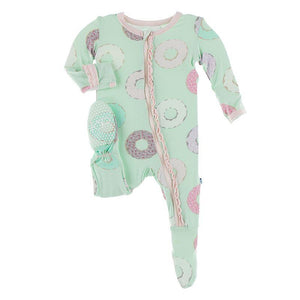 Kickee Pants Muffin Ruffle Footie with Zipper Pistachio Donuts - Flying Ryno