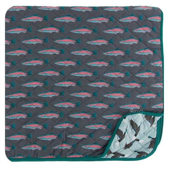 Kickee Pants Quilted Toddler Blanket Stone Rainbow Trout and Jade Mallard Duck - Flying Ryno