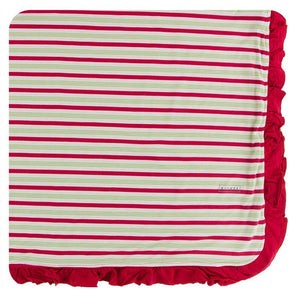 Kickee Pants Ruffle Toddler Blanket Candy Cane Stripe - Flying Ryno