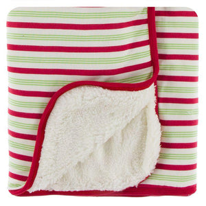 Kickee Pants Sherpa Lined Stroller Blanket Candy Cane Stripe - Flying Ryno