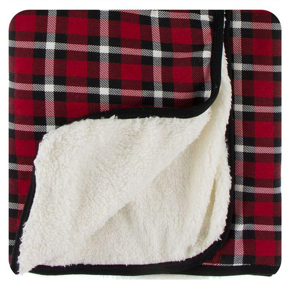 Kickee Pants Sherpa Lined Stroller Blanket Crimson Holiday Plaid - Flying Ryno
