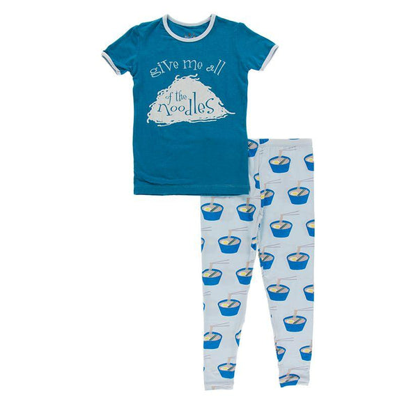 Kickee Pants Short Sleeve Graphic Pajama Set Illusion Blue Ramen - Flying Ryno