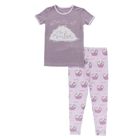 Kickee Pants Short Sleeve Graphic Pajama Set Thistle Ramen - Flying Ryno
