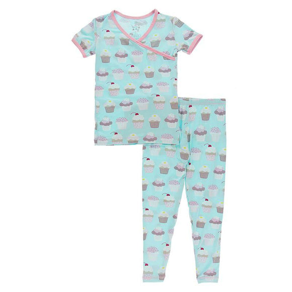 Kickee Pants Short Sleeve Kimono Pajama Set Summer Sky Cupcakes - Flying Ryno