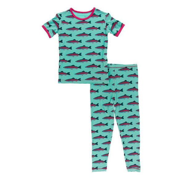 Kickee Pants Short Sleeve Pajama Set Glass Rainbow Trout - Flying Ryno