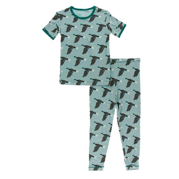 Kickee Pants Short Sleeve Pajama Set Jade Mallard Duck - Flying Ryno