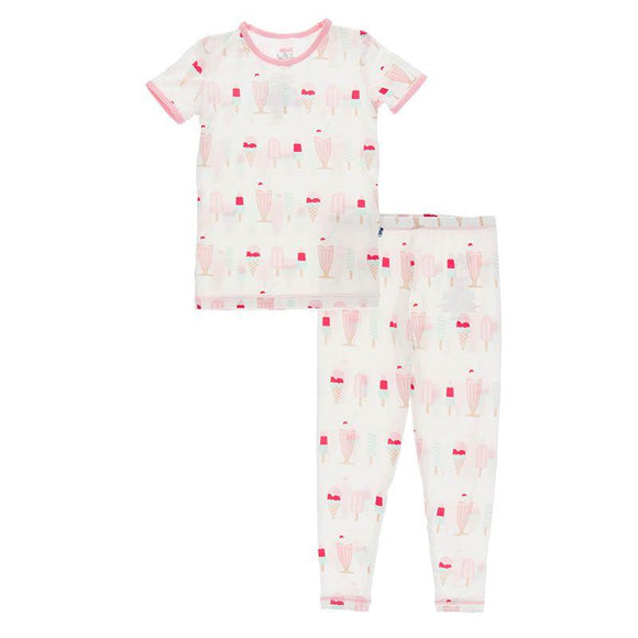 Kickee Pants Short Sleeve Pajama Set Natural Ice Cream Shop - Flying Ryno