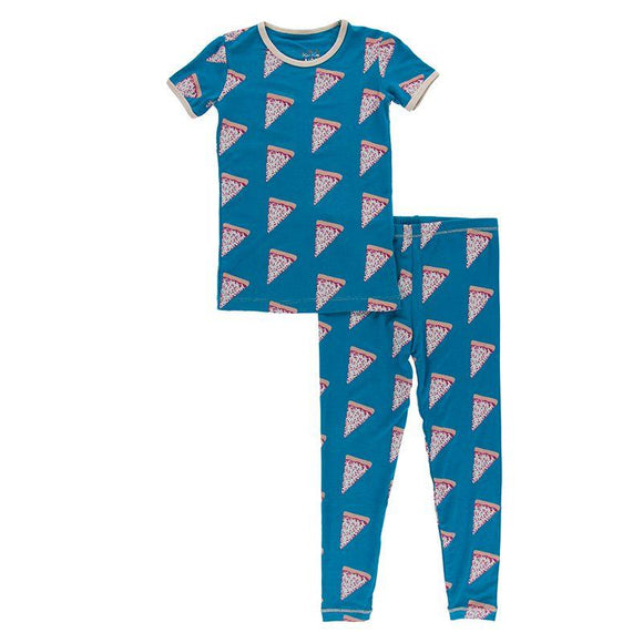 Kickee Pants Short Sleeve Pajama Set Seaport Pizza Slices - Flying Ryno