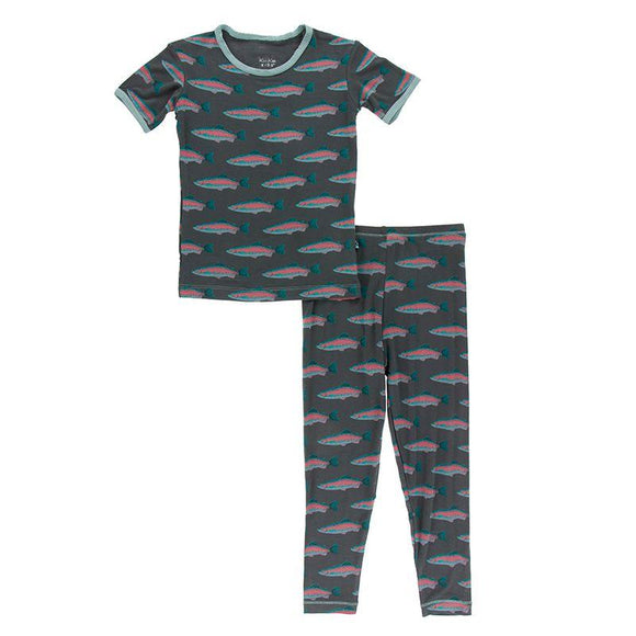 Kickee Pants Short Sleeve Pajama Set Stone Rainbow Trout - Flying Ryno