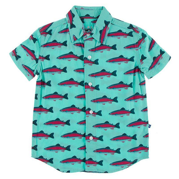 Kickee Pants Short Sleeve Woven Button Down Shirt Glass Rainbow Trout - Flying Ryno