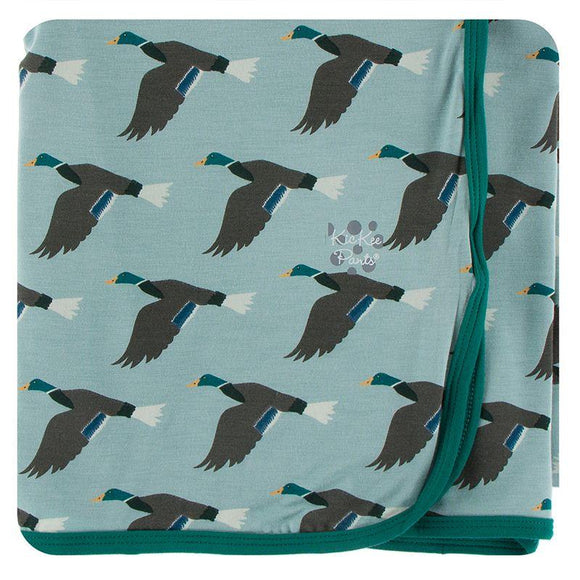 Kickee Pants Swaddling Blanket Jade Mallard Duck - Flying Ryno