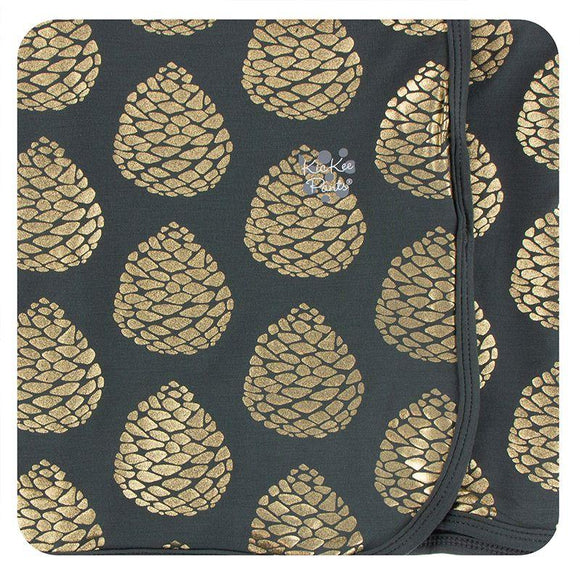 Kickee Pants Swaddling Blanket Pewter Pinecones - Flying Ryno
