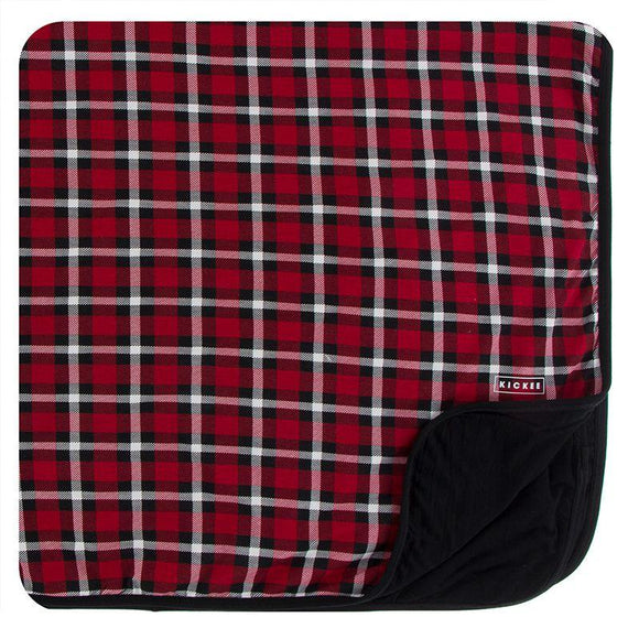 Kickee Pants Toddler Blanket Crimson Holiday Plaid - Flying Ryno