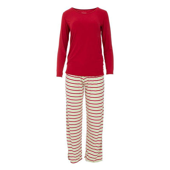 Kickee Pants Women's Long Sleeve Loosey Goosey Tee and Pants Set Candy Cane Stripe - Flying Ryno