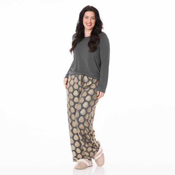 Kickee Pants Women's Long Sleeve Loosey Goosey Tee and Pants Set Pewter Pinecones - Flying Ryno