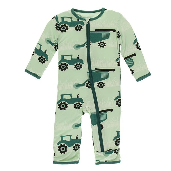 Kickee Pants Zipper Coverall Pistachio Tractors and Wheat - Flying Ryno