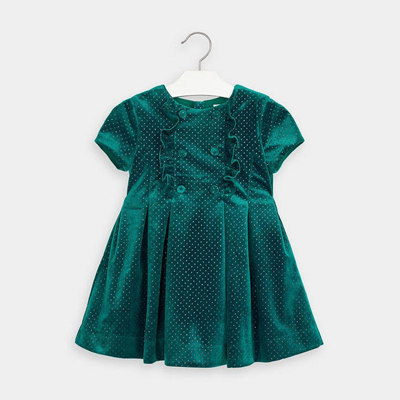 Mayoral Glitter Velvet Dress in Duck Green - Flying Ryno