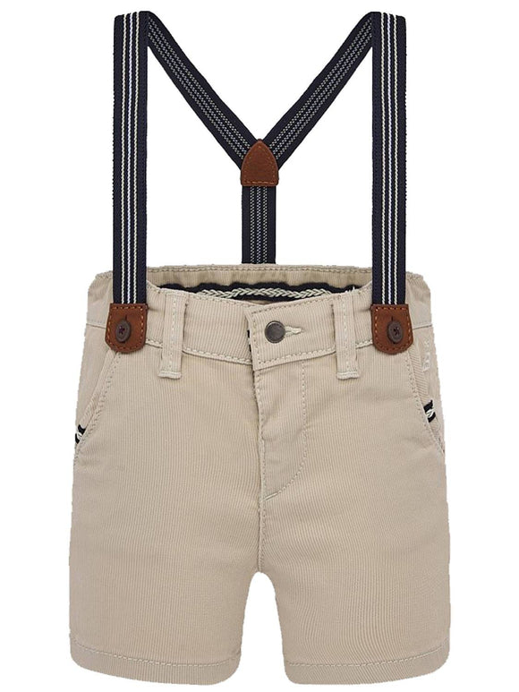 Mayoral Khaki Shorts with Suspenders - Flying Ryno