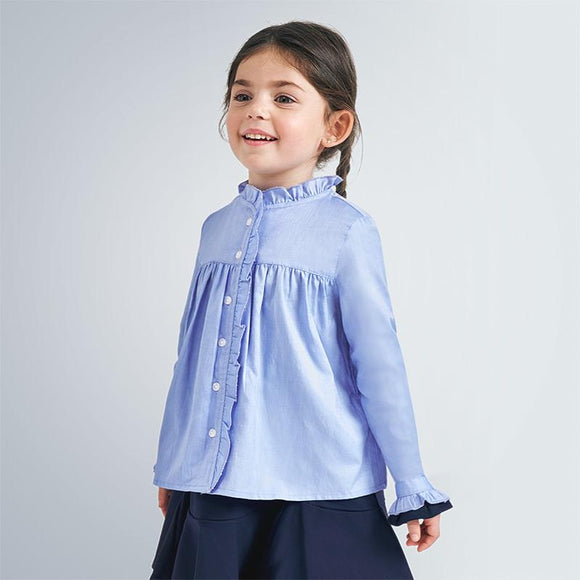 Mayoral Pleated Blouse in Girl Blue - Flying Ryno