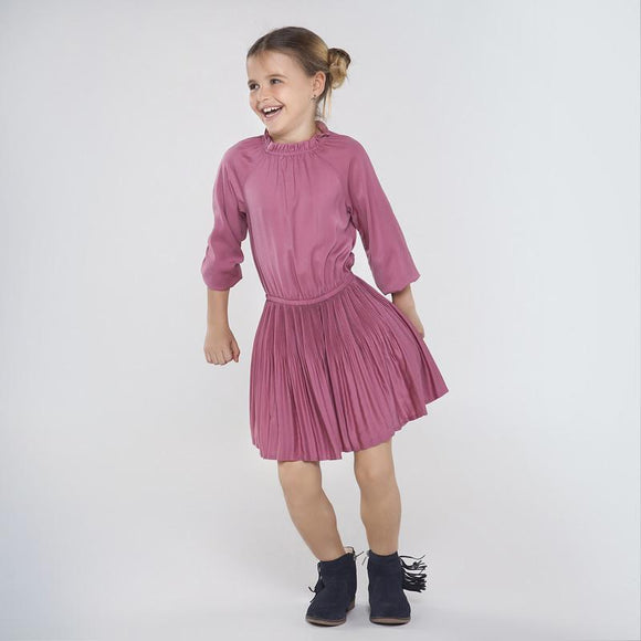 Mayoral Pleated Satin Dress in Grape - Flying Ryno