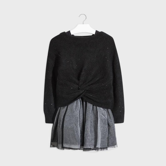 Mayoral Two-Piece Sweater Dress Black - Flying Ryno