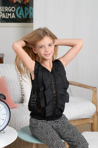 Mini Molly Ruffle Knit Tank Top Black - Flying Ryno