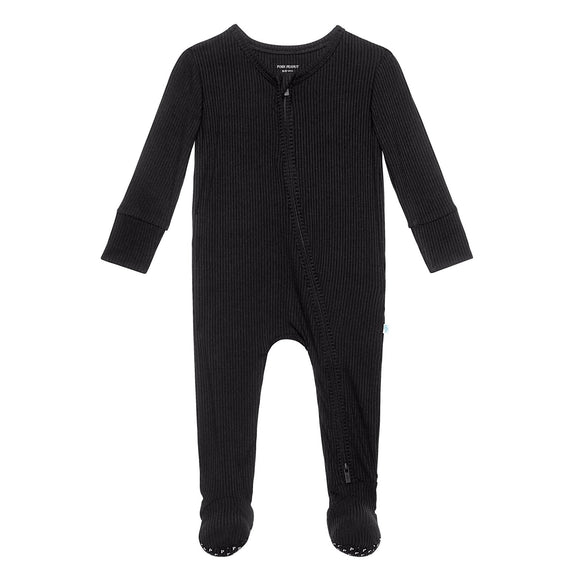 Posh Peanut Black Ribbed Footie - Flying Ryno
