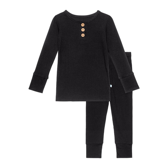 Posh Peanut Black Ribbed Long Sleeve Henley Loungewear - Flying Ryno