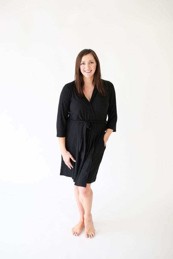 Posh Peanut Black Ribbed Mommy Robe - Flying Ryno