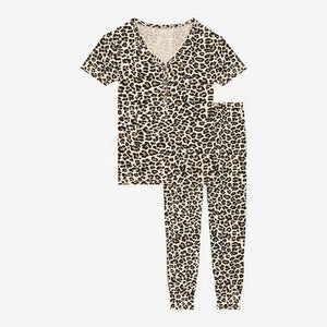 Posh Peanut Lana Leopard Tan Women Short Sleeve Loungewear - Flying Ryno