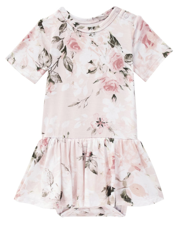 Posh Peanut Vintage Pink Rose - Short Sleeve with Twirl Skirt Bodysuit - Flying Ryno