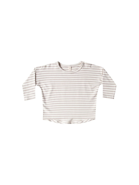 Quincy Mae Long Sleeve Brushed Jersey Tee in Fog Stripe - Flying Ryno