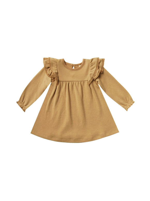 Quincy Mae Longsleeve Flutter Dress in Honey - Flying Ryno
