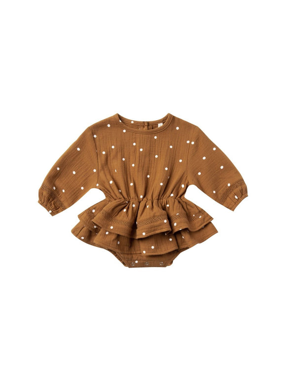 Quincy Mae Rosie Romper in Walnut - Flying Ryno